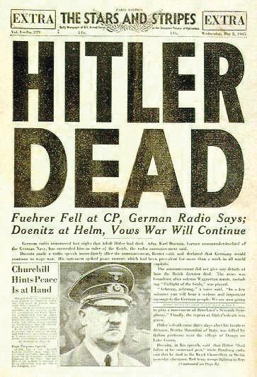 ヒトラー〜最後の12日間〜↑1945年5月3日付ヒトラーの自殺を報じるアメリカ軍機関紙・スターズ&ストライプス紙提供。.jpg