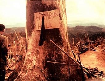 ハンバーガー・ヒル↑937高地の頂上にアーミーナイフで打ち付けられたHAMBURGER HILLの貼り紙。黒い布は第101空挺師団のネッカチーフ。.jpg