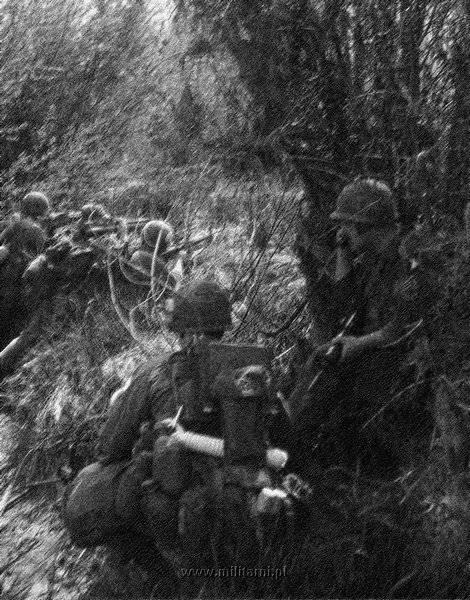 ハンバーガー・ヒル↑攻撃開始2日目。ジャングルの中を進軍する第101空挺師団の兵士たち。1969年5月11日。.jpg