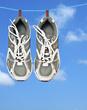 運動靴と赤い金魚